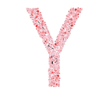 Alfabet kwiatów sakury. litera y