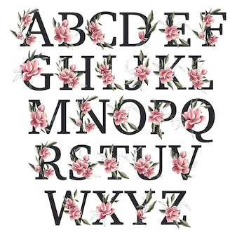 Alfabet kwitnące wiosną magnolii
