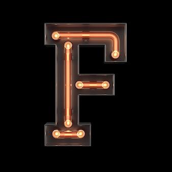 Alfabet światła neonowego f