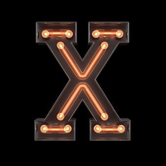 Alfabet światła neonowego x