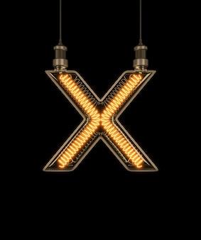 Alfabet x wykonane z żarówki.