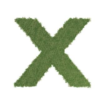Alfabet x wykonane z zielonego drzewa