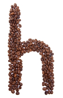 Alfabet z ziaren kawy na białym