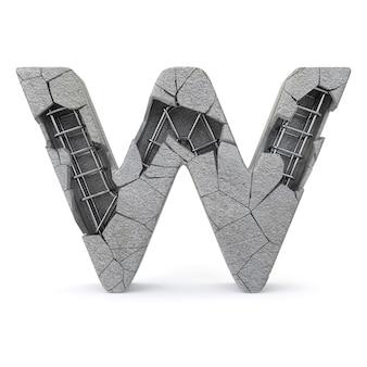 Alfabet złamanego betonu w