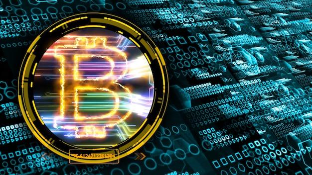Algorytm bitcoin kwantowy komputer futurystyczna technologia cyfrowy wymiar warstwy proces holograficzny i analiza dla dużych zbiorów danych i abstrakcyjne tło wielokąta strefy pomarańczowej