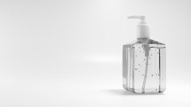 Alkohol żel lub odkażacz do rąk w przezroczystej butelce dla ochrony koronawirusa, covid-19,3d renderowania ilustracji