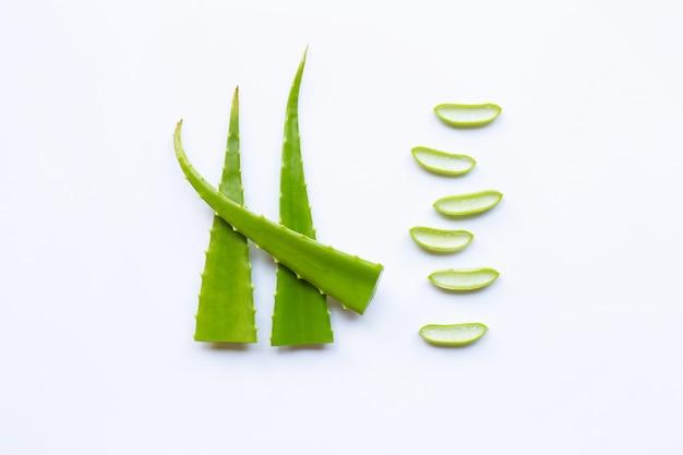 Aloe vera świeży liść z plasterkami odizolowywającymi na bielu
