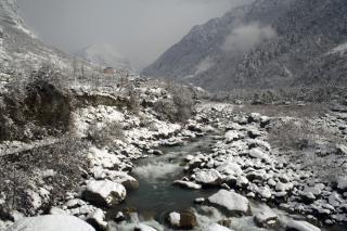 Alpejski widok, zima