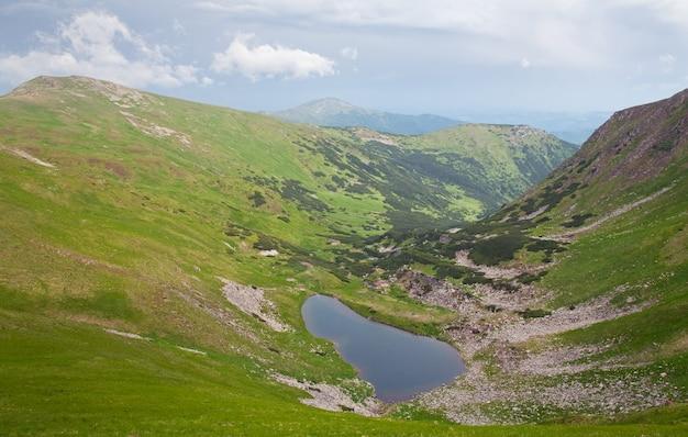 Alpejskie jezioro brebeneckul w letnim wąwozie górskim (ukraina, czarnogóra, karpaty)