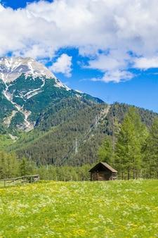 Alpy tyrolskie. górski krajobraz. drewniany dom w górach