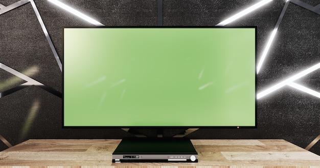 Aluminiowa listwa ozdobna na czarnej ścianie i drewnianej podłodze z drewnianą szafką i makietą telewizora