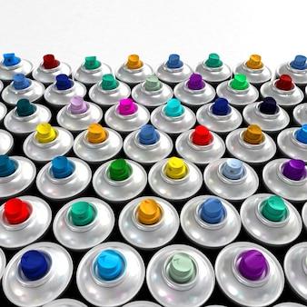 Aluminiowe puszki ze sprayem z różnokolorowymi dyszami