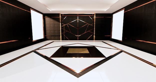 Aluminiowe wykończenie w kolorze złotym na czarnej ścianie i drewnianej podłodze