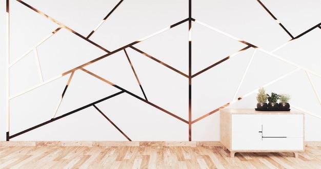 Aluminiowe złote wykończenie na białej ścianie i drewniana podłoga z drewnianą szafką
