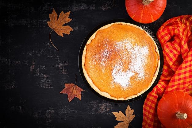 American pumpkin pie. widok z góry