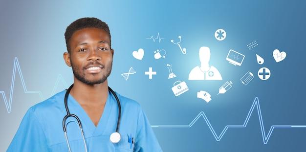 Amerykanina afrykańskiego pochodzenia lekarza medycyny mężczyzna