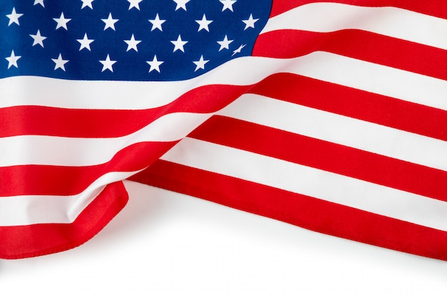 Amerykańska flaga na białym tle