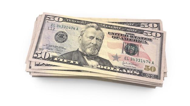 Amerykański banknot pięćdziesiąt dolarów z bliska usa federalne karmione rezerwy uwaga renderowania 3d