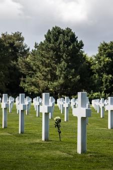 Amerykański cmentarz ii wojny światowej we francuskim regionie normandia.
