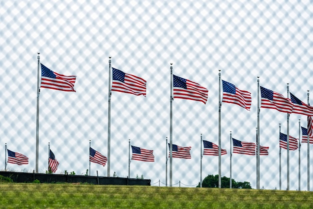 Amerykańskie flagi przy waszyngtońskim pomnikiem za drucianym ogrodzeniem. skoncentruj się na flagach