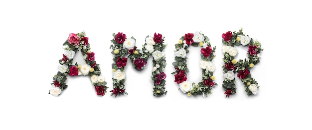 Amor słowo kwiaty na bielu