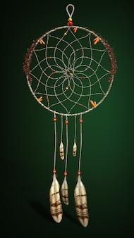 Amulet łapacz snów. ilustracja 3d