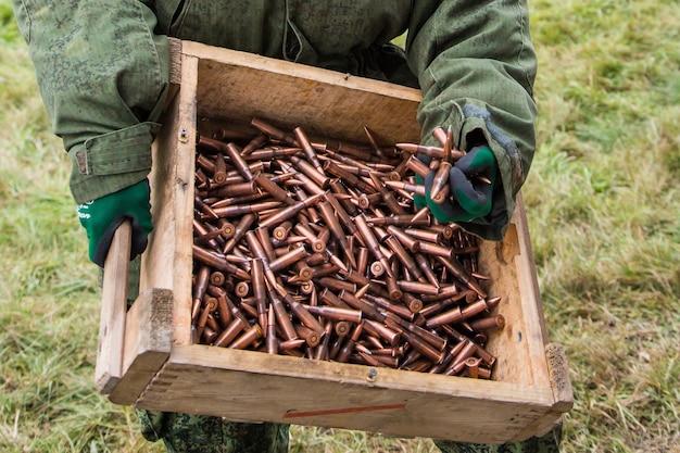Amunicja do karabinów maszynowych jako tło