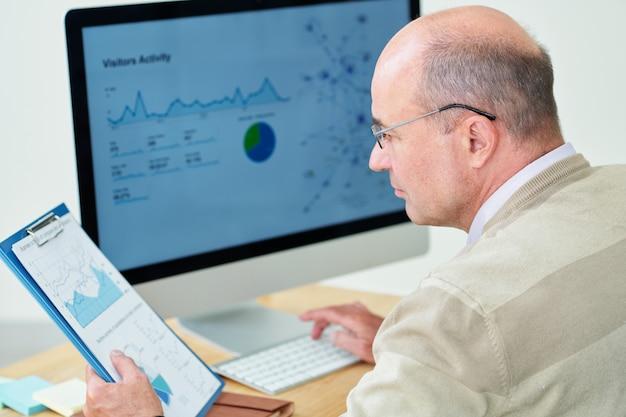 Analityk finansowy sprawdza raporty