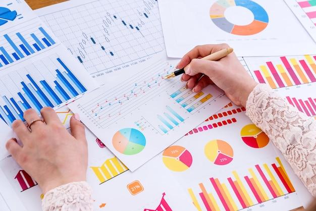 Analiza finansowa, kobiece dłonie z wykresami biznesowymi