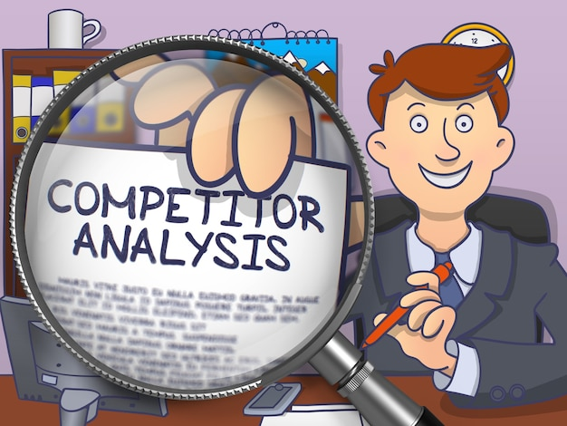 Analiza konkurencji na papierze w ręku officemana w celu zilustrowania koncepcji biznesowej. widok zbliżenie przez lupę. ilustracja kolorowa linia nowoczesna w stylu doodle.