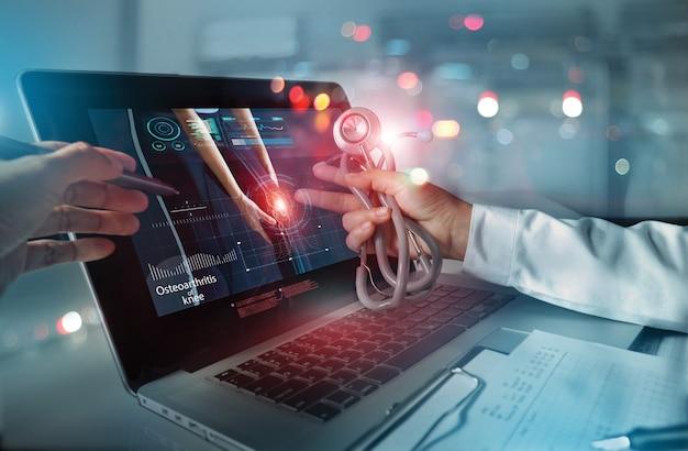 Analiza zespołu lekarskiego diagnoza sprawdzająca wynik badania zwyrodnieniowego stawu kolanowego ból stawów medyczny