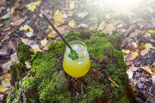 Ananas, mango, napój cytrynowy w szklanych dachach na drewnie z mchem. zimny żółty koktajl z kostkami lodu. malownicza martwa natura z letnim napojem alkoholowym.