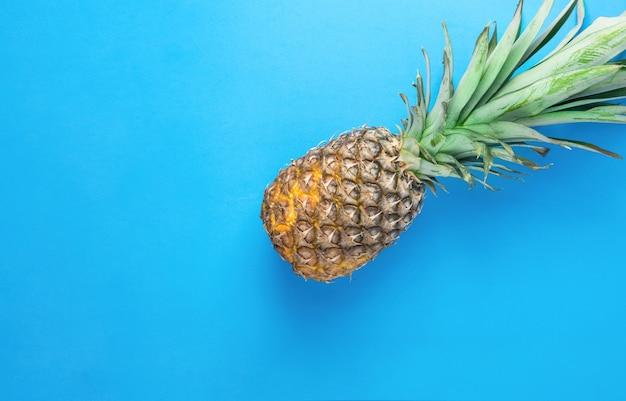 Ananas z długimi zielonymi liśćmi na niebieskim tle.