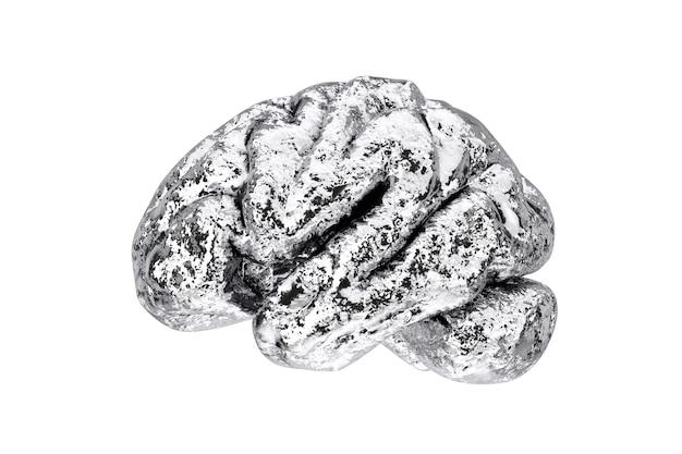 Anatomiczny model ludzkiego mózgu srebrnego na białym tle. renderowanie 3d
