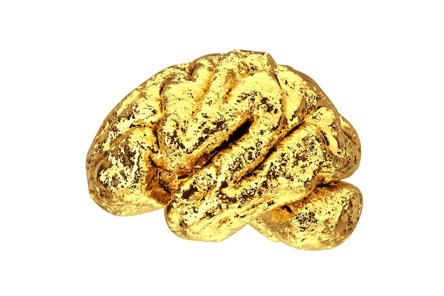 Anatomiczny model ludzkiego złotego mózgu na białym tle. renderowanie 3d