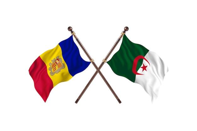 Andora kontra algieria flagi dwóch krajów w tle
