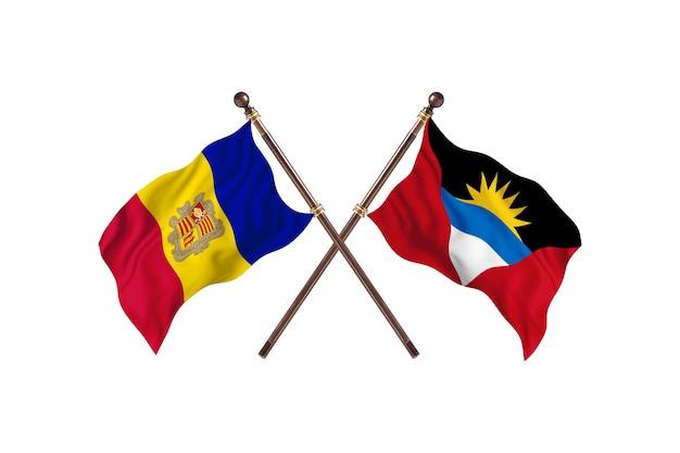 Andora kontra antigua i barbuda dwa kraje flagi w tle