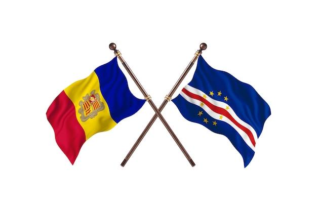 Andora kontra cabo verde flagi dwóch krajów w tle