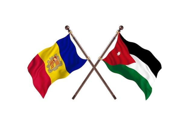 Andora kontra jordania flagi dwóch krajów w tle