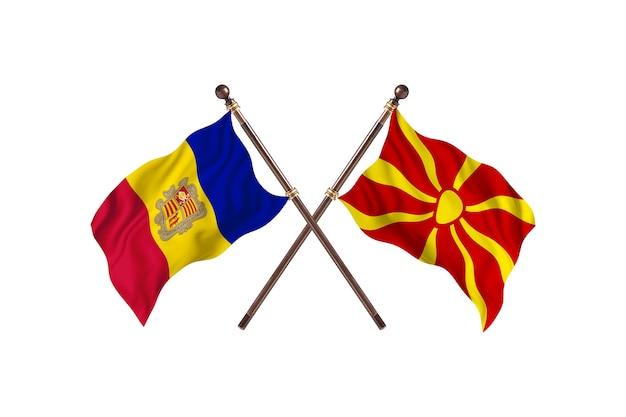 Andora kontra macedonia tło flagi dwóch krajów