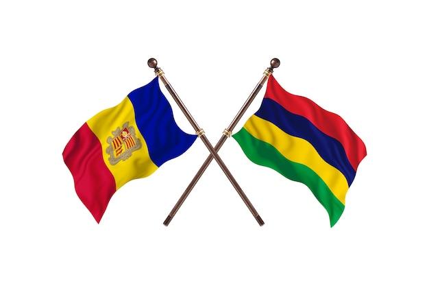 Andora kontra mauritius flagi dwóch krajów w tle