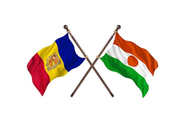 Andora kontra niger dwa kraje flagi w tle