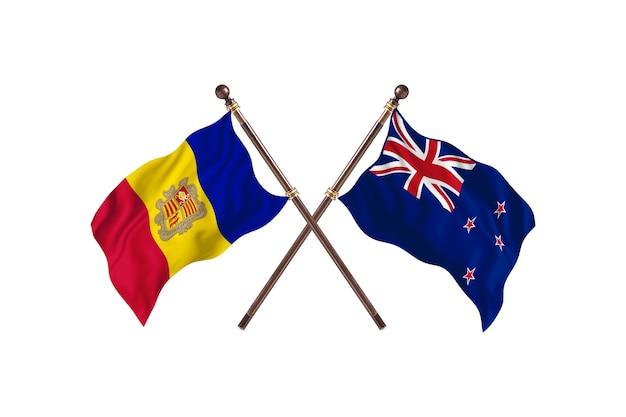 Andora kontra nowa zelandia flagi dwóch krajów w tle