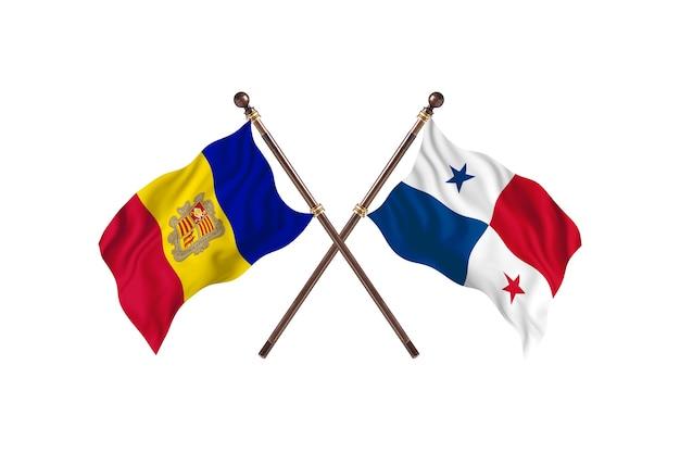 Andora kontra panama flagi dwóch krajów w tle
