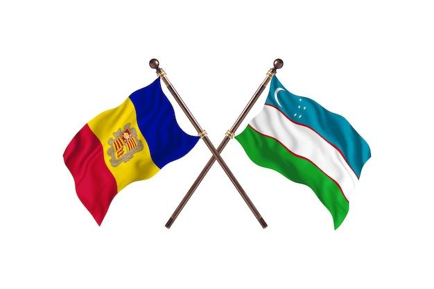Andora kontra uzbekistan dwa flagi krajów w tle