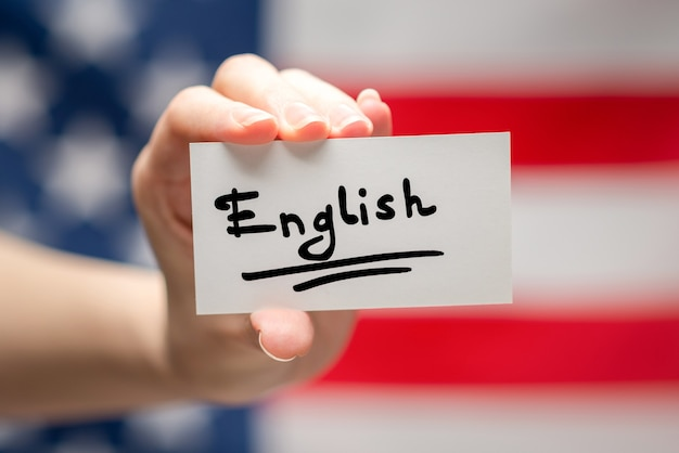 Angielski tekst na karcie
