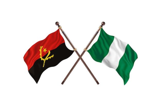 Angola kontra nigeria flagi dwóch krajów w tle