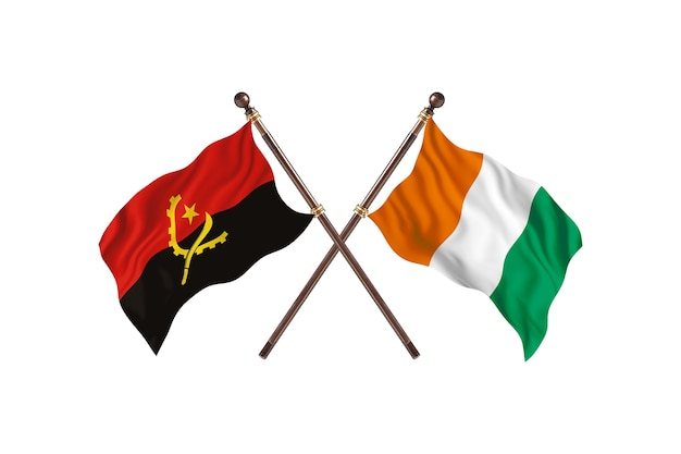 Angola kontra wybrzeże kości słoniowej tło flagi dwóch krajów