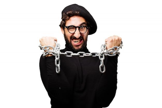Angry man z rąk łańcuchowej