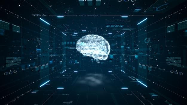 Animacja mózgu sztucznej inteligencji. cyfrowa maszyna komputerowa do głębokiego uczenia się dużych zbiorów danych. koncepcja animacji dużych danych. analiza przepływu dużych danych. cyfrowy mózg sztucznej inteligencji. renderowania 3d.